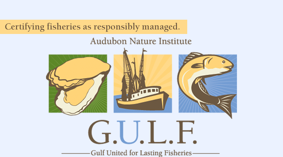 Audubon Nature Institute, Gulf United for Lasting Fisheries: Certifying fisheries as responsibly managed.