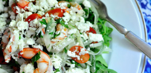 Shrimp with Tomatoes, Fennel, Feta and Ouzo.