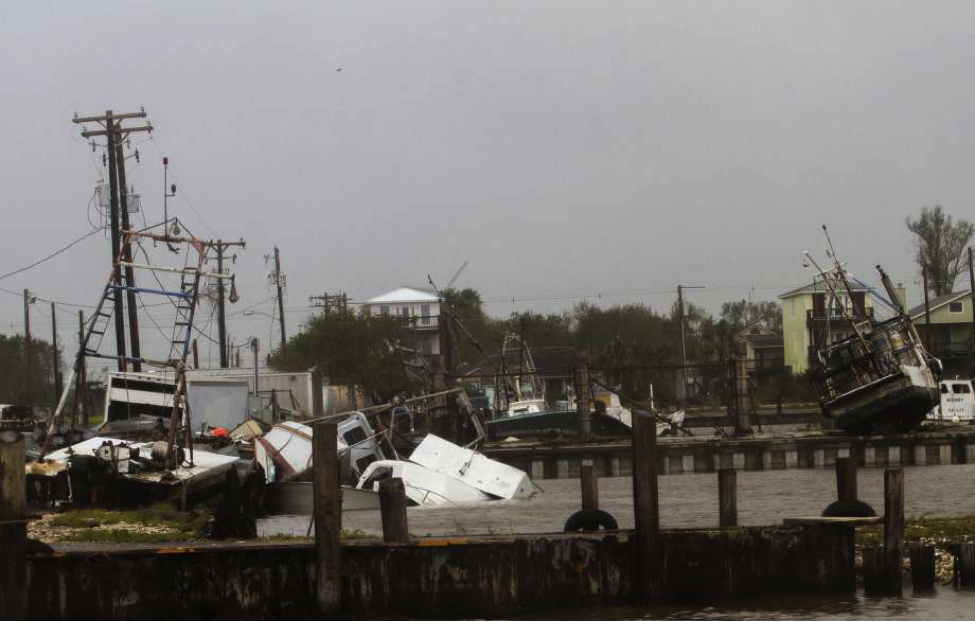 Storms and Hurricane Irma and Harvey Aftermath on a boat harbor