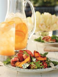 A plate of Grilled Shrimp Salad with Sweet Tea Vinaigrette.