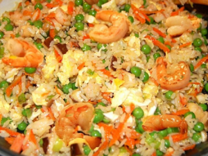 A picture of seafood fried rice.