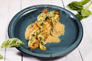 A plate of lemon garlic shrimp.