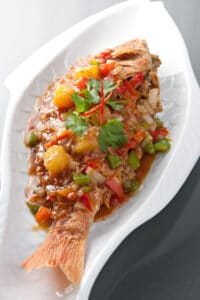 A plate of Gulf Snapper with Confetti Shrimp.